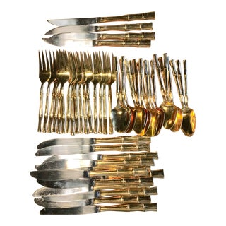 Gold Plated Bamboo Flatware Set For Sale