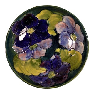 1950s Vintage William Moorcroft Pottery Clematis Footed Bowl For Sale