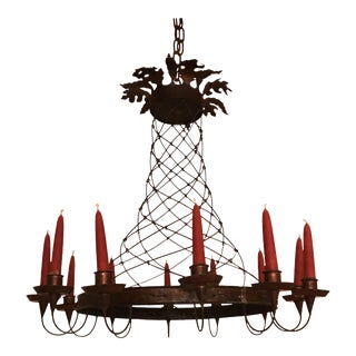 Bronze Metal Wire Candelabra Chandelier For Sale