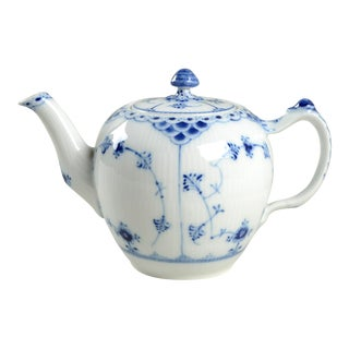 Royal Copenhagen Blue Fluted Half Lace Border Teapot & Lid For Sale