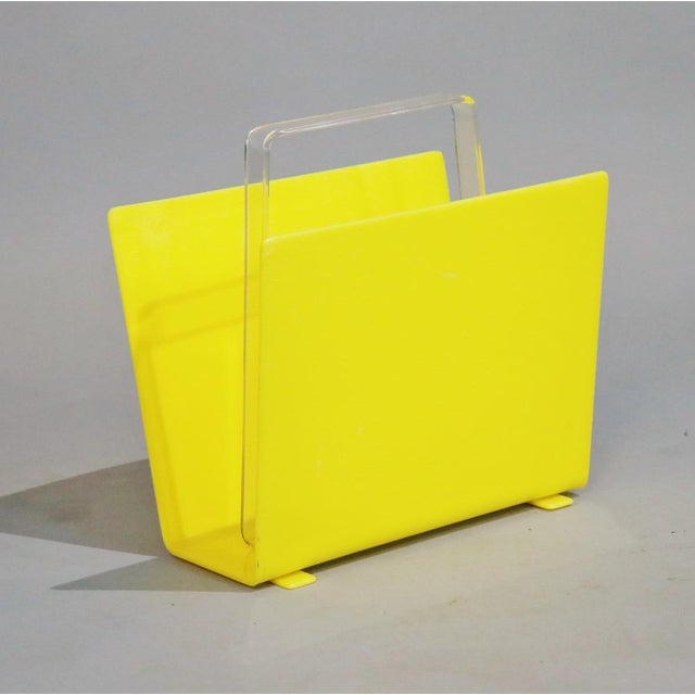 1970s 1970s Mid-Century Yellow Lucite Magazine Rack For Sale - Image 5 of 5