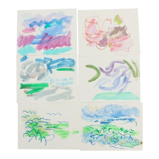 Vintage Mid-Century Paul Chidlaw Mixed Media Abstract Watercolor Paintings - Set of 6 For Sale