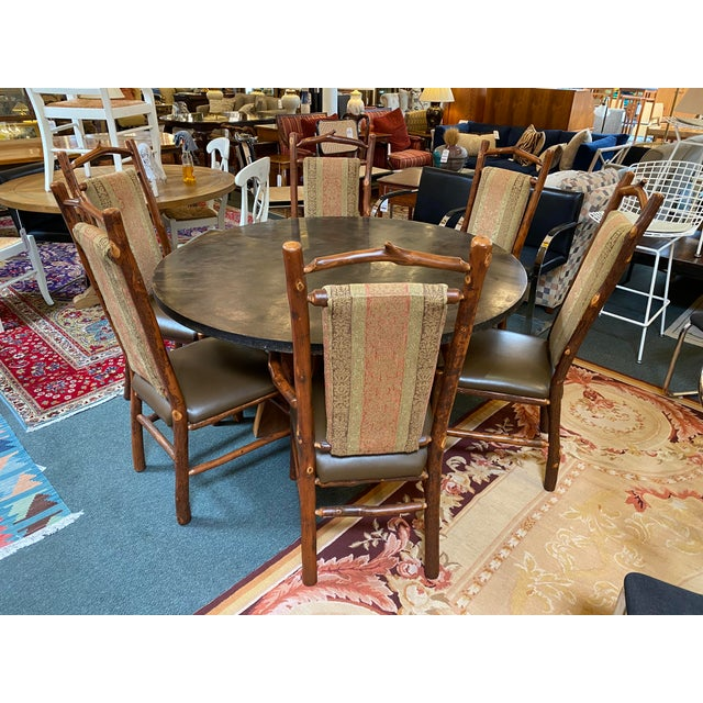 Custom Round Cement + Teak Dining Table + Six Hickory Wood Chairs- a Set For Sale - Image 9 of 13