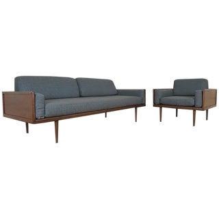 1960s Vintage Mel Smilow for Smilow-Thielle Walnut Case Minimalist Sofa and Lounge Chair- 2 Pieces For Sale