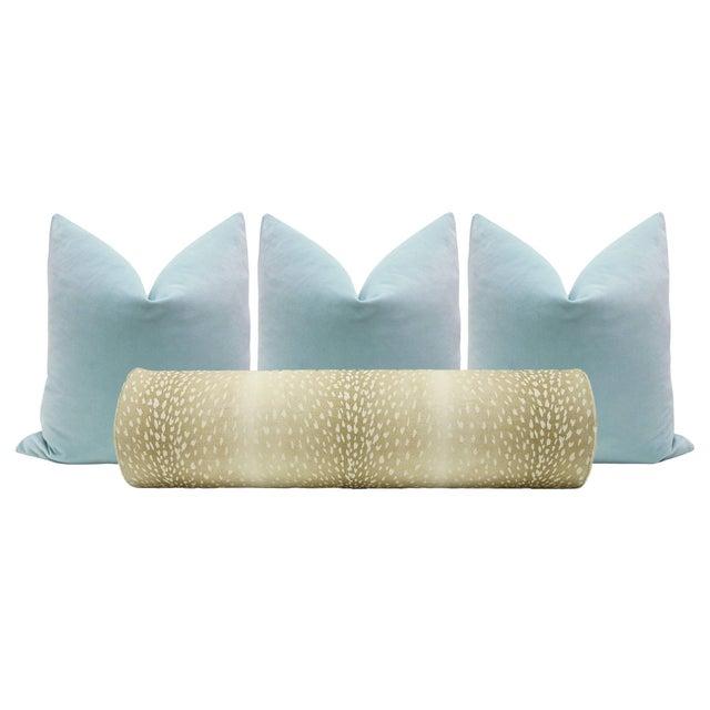 Natural Antelope Bolster and Spa Blue Velvet Pillows - Set of 4 For Sale - Image 9 of 9