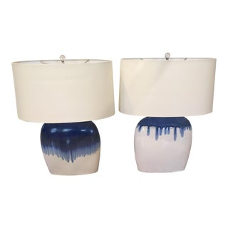 Arteriors Ceramic Blue and White Darwin Lamps - a Pair For Sale