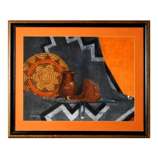 Southwestern Still Life Pastel Painting by T. Begay For Sale