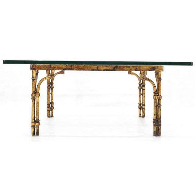 Faux Bamboo Gold Gilt Frame Square Glass Top Coffee Table For Sale - Image 10 of 12