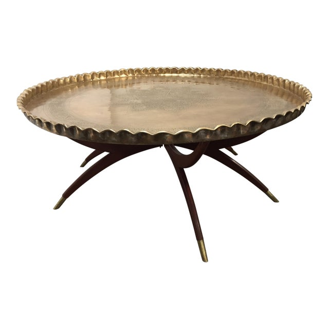 Large Mid-Century Round Brass Tray Table on Folding Stand For Sale