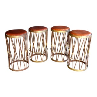 Boho Chic Hand-Welded Iron & Leather Stools, Set of 4 For Sale