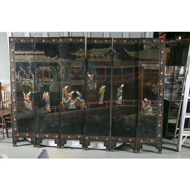 Red 1930s Chinese Lacquered Six-Panel Screen For Sale - Image 8 of 8