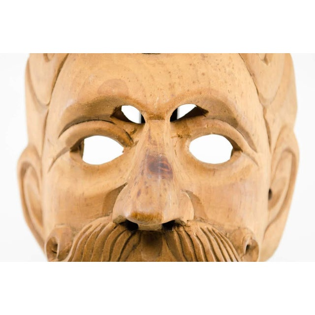 Yellow Italian Wood Carved Decorative Male Masks - a Pair For Sale - Image 8 of 13