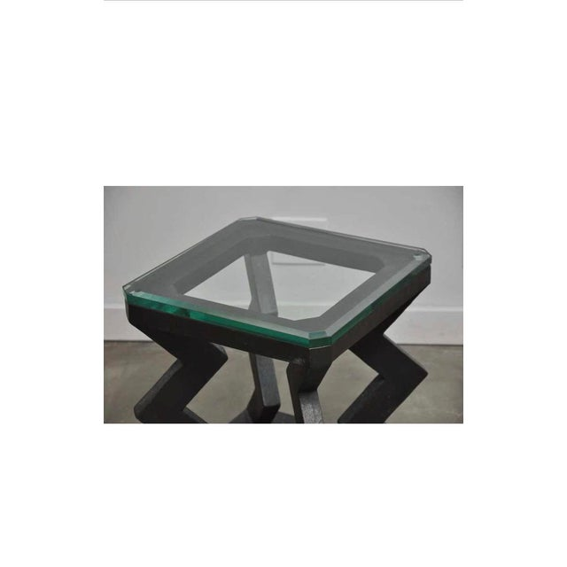 """Solid patinated bronze side with glass top table by Gene Summers. Original 1985 production signed and numbered """"G. Summers..."""