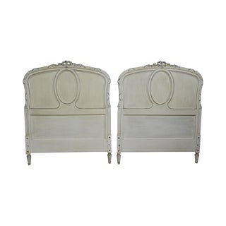French Louis XV Style Antique Pair of Painted Twin Headboards