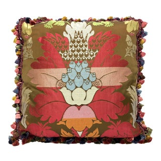 Silk Demask Motif Tassel Pillow For Sale
