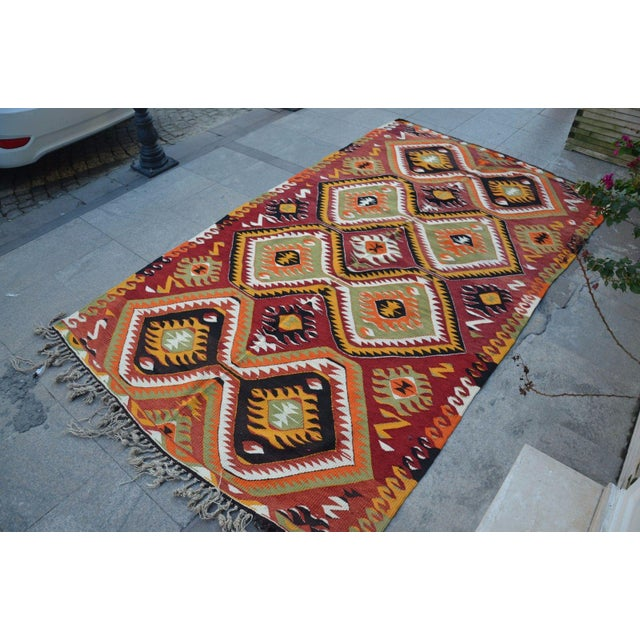 "Turkish Kilim Wool Rug - 5'8"" x 10' - Image 6 of 6"