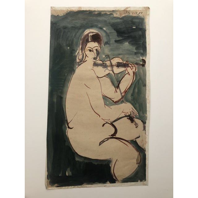 Mid-Century Female Nude With Violin Watercolor 1960s For Sale - Image 12 of 12