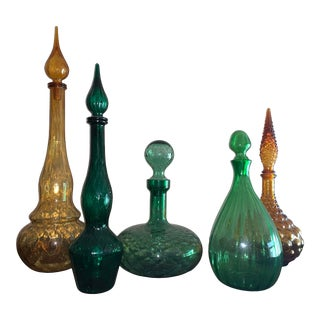 Italian Mid-Century Empoli Glass Colored Decanter Vases - Set of 5 For Sale