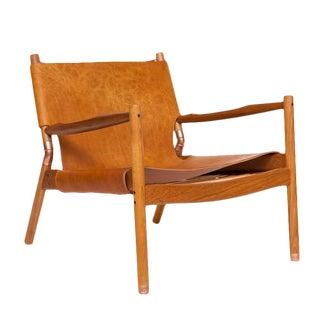 Customizable Erickson Aesthetics Slung Leather Teak Lounge Chair For Sale