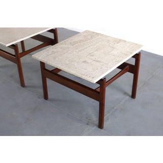 Pair of Jens Risom Walnut End Tables With Travertine Tops Preview