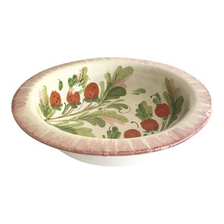 Vintage Italian Ceramic Bowl With Strawberry Designs