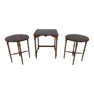 Harden Furniture Solid Cherry Faux Bamboo Nesting Tea Tables - Set of 3