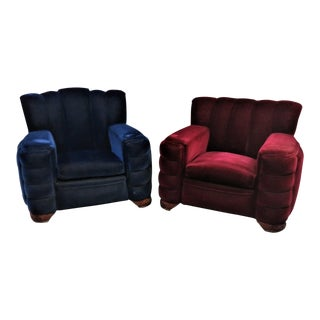 Art Deco Red & Blue Mohair Club Chairs - a Pair For Sale