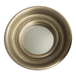 Small Convex Mirror With Antiqued Champagne Finish For Sale