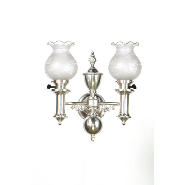 Traditional Set of 4 Silver Argand Sconces For Sale - Image 3 of 10