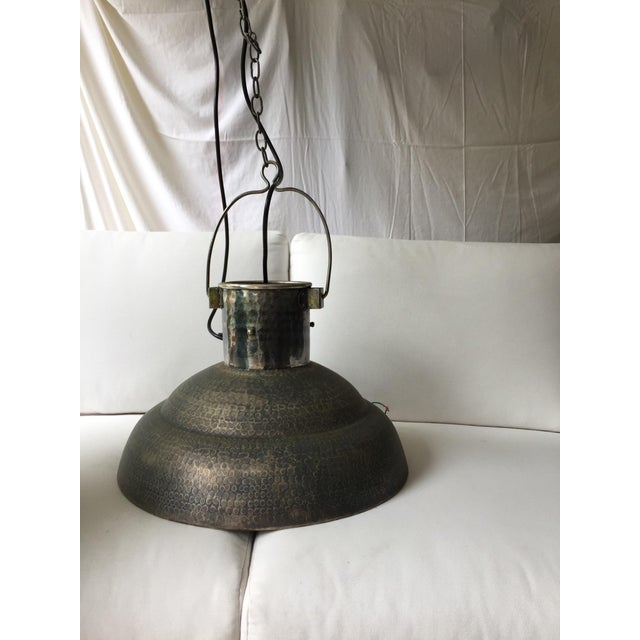 Metal Hammered Chandeliers - A Pair - Image 3 of 4