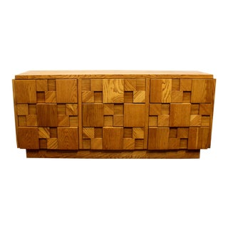 1970s Mid-Century Modern Brutalist Mosaic Patchwork Dresser by Lane in Oak For Sale