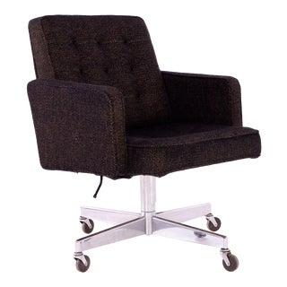 George Nelson Style Shaw Walker Chrome & Tufted Wool Upholstered Office Desk Chair For Sale