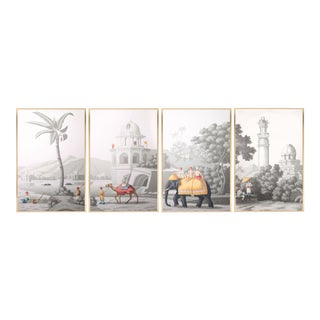 """Jardins en Fleur """"Idyllic Scenes of Ancient India"""" Hand-Painted Grisaille Framed Polyptyc, 4 Pieces For Sale"""