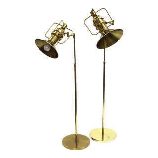 Modern Brass Floor Lamps with Adjustable Heads and Handles - a Pair For Sale