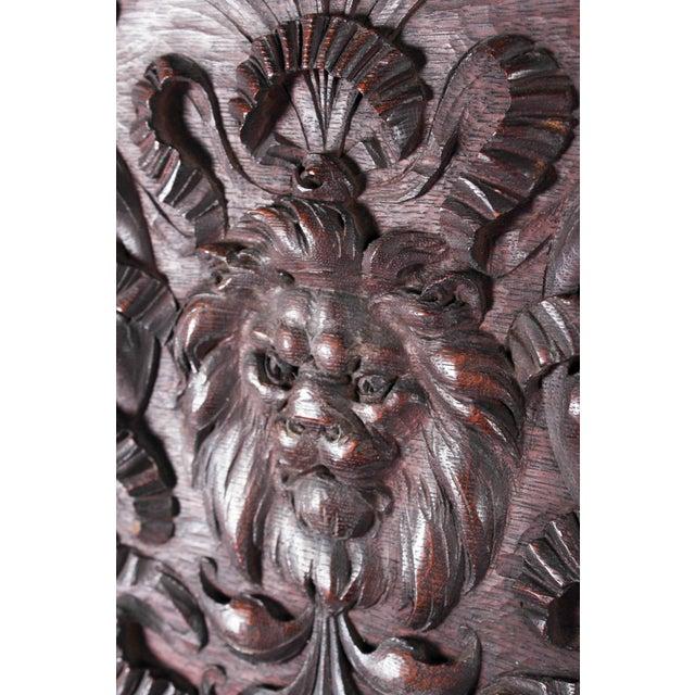 Oak 1880 Vanderbilt Mansion Original Hand-Carved Oak Lion Wall Panel For Sale - Image 7 of 11