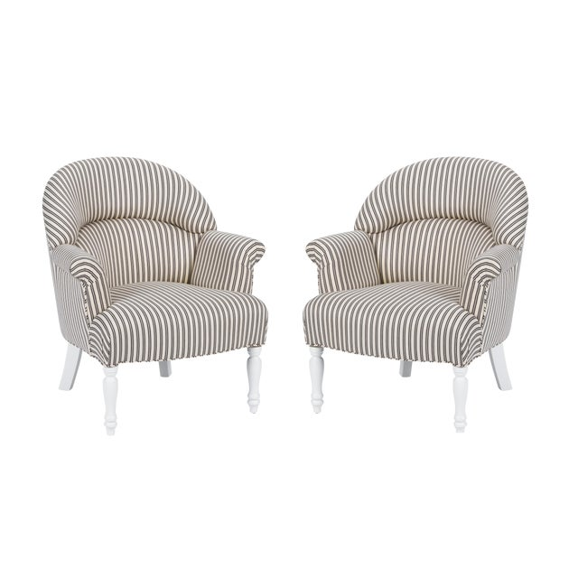Casa Cosima Napoleon III Chair in Black and Ivory Ticking, a Pair For Sale