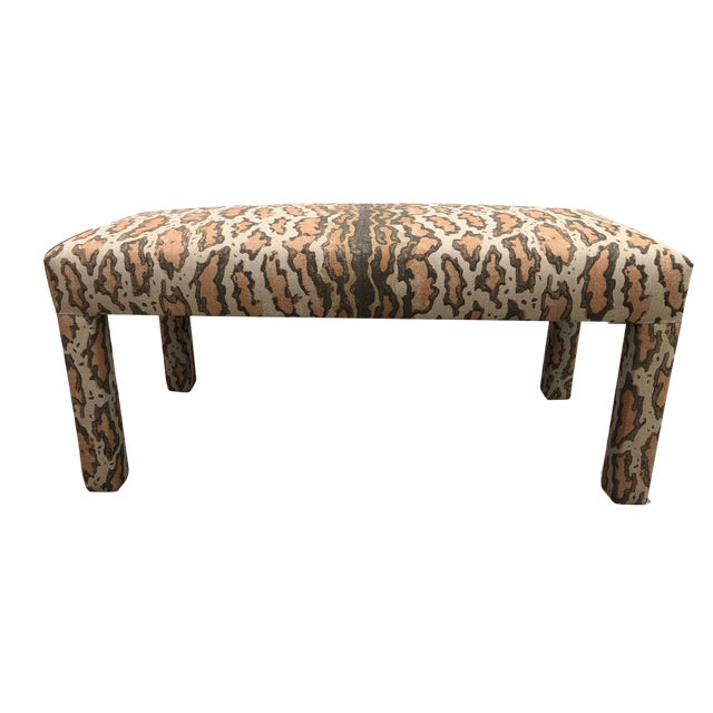 Late 20th Century Parson Upholstered Bench For Sale