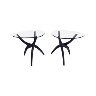 1960s Mid-Century Modern Adrian Pearsall Glass and Walnut Spider Leg End Tables - a Pair For Sale