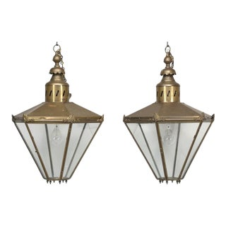 Pair of Antique Large Brass Lanterns Restored For Sale
