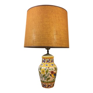 1960s Italian Hand Painted Table Lamp For Sale