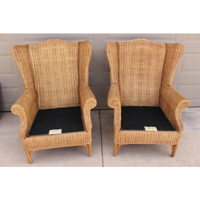 Green 1970s Vintage Henry Link Woven Wicker Wingback Chairs- A Pair For Sale - Image 8 of 13