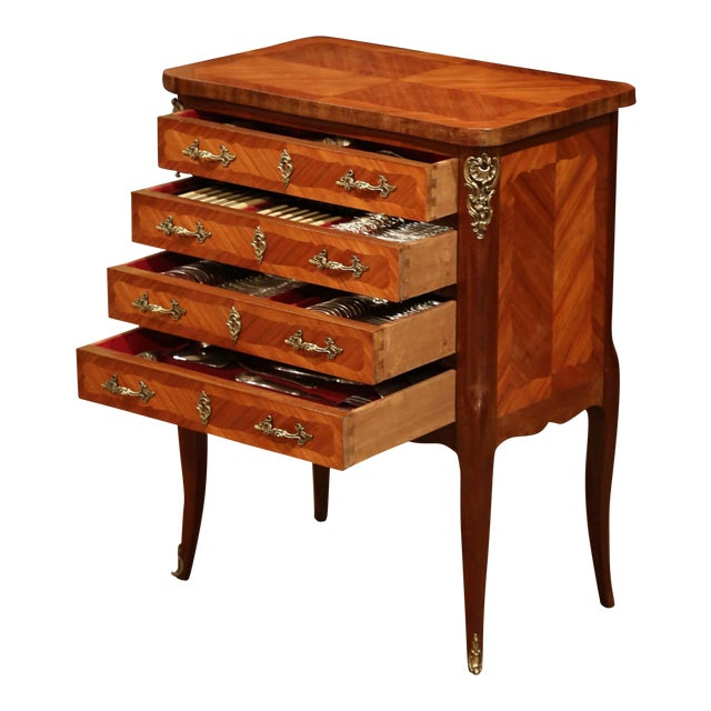 Early 20th Century Louis XV Walnut Marquetry Chest With Silverware, 145 Pieces For Sale