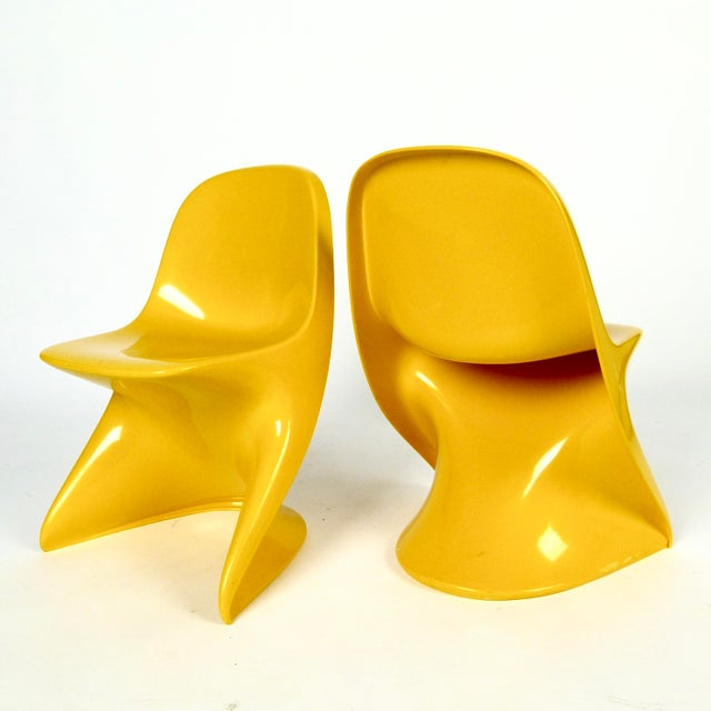 """Vintage """"Casalino 1"""" ABS injection molded plastic, stackable children's chairs by Casala, Germany, 10 available."""