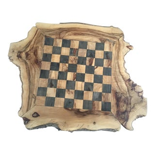 Handmade Olive Wood Natural Edge Chessboard For Sale
