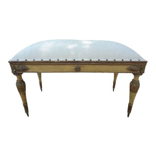 1920s Italian Neoclassical Style Upholstered Bench For Sale