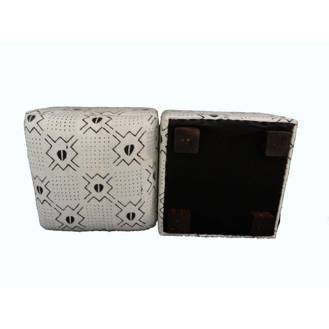 White & Black Mud Cloth Ottomans - A Pair - Image 8 of 9