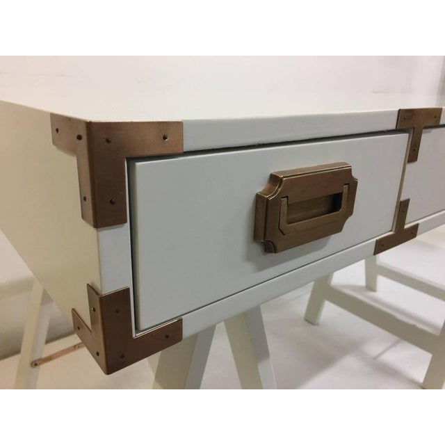 1970s Vintage Campaign Desk with Original Patinated Brass Hardware For Sale - Image 5 of 7