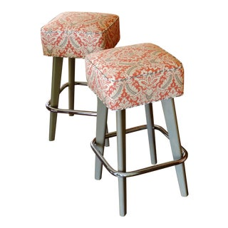 Vintage Orange Patterned Seat and Chrome Foot Rest Bar Stools - a Pair