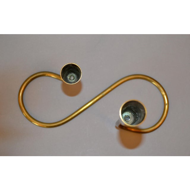 Gold Scandinavian Modern Double Brass Candlestick Attributed to Illums Bolighus For Sale - Image 8 of 12