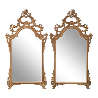 Italian Rococo Carved Mirrors - a Pair For Sale
